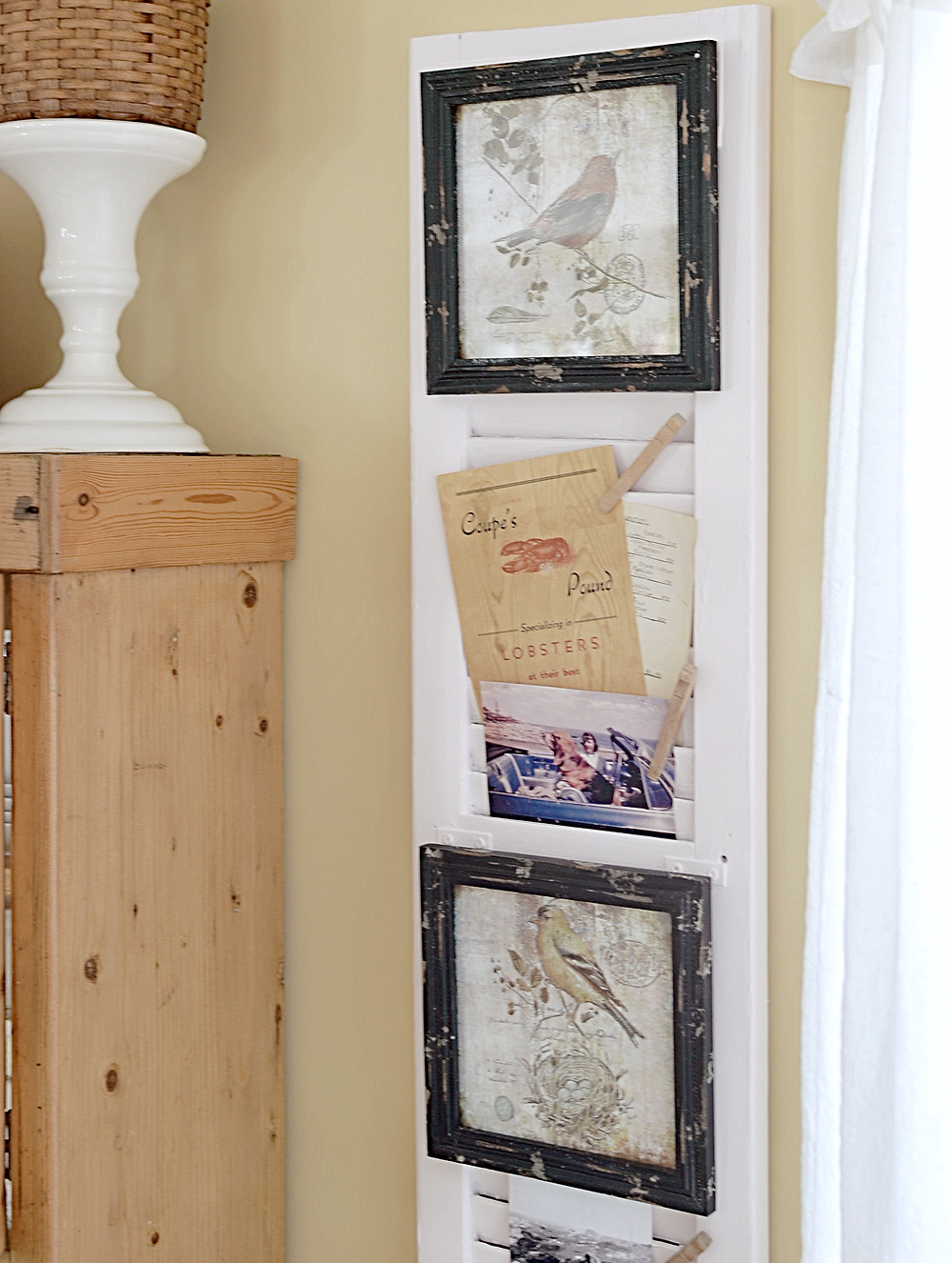 Vintage shutter with vintage menu and photos.