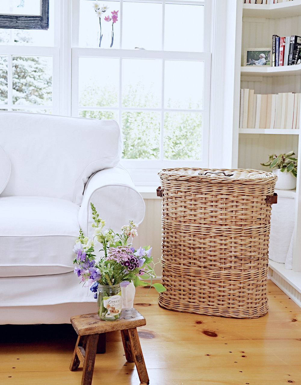 Bookshelves, baskets, window, sunroom.
