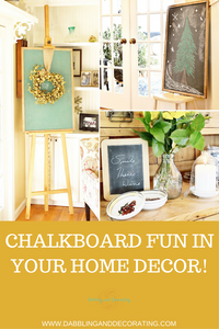 Pin for Pinterest collage of chalkboards in home decor.