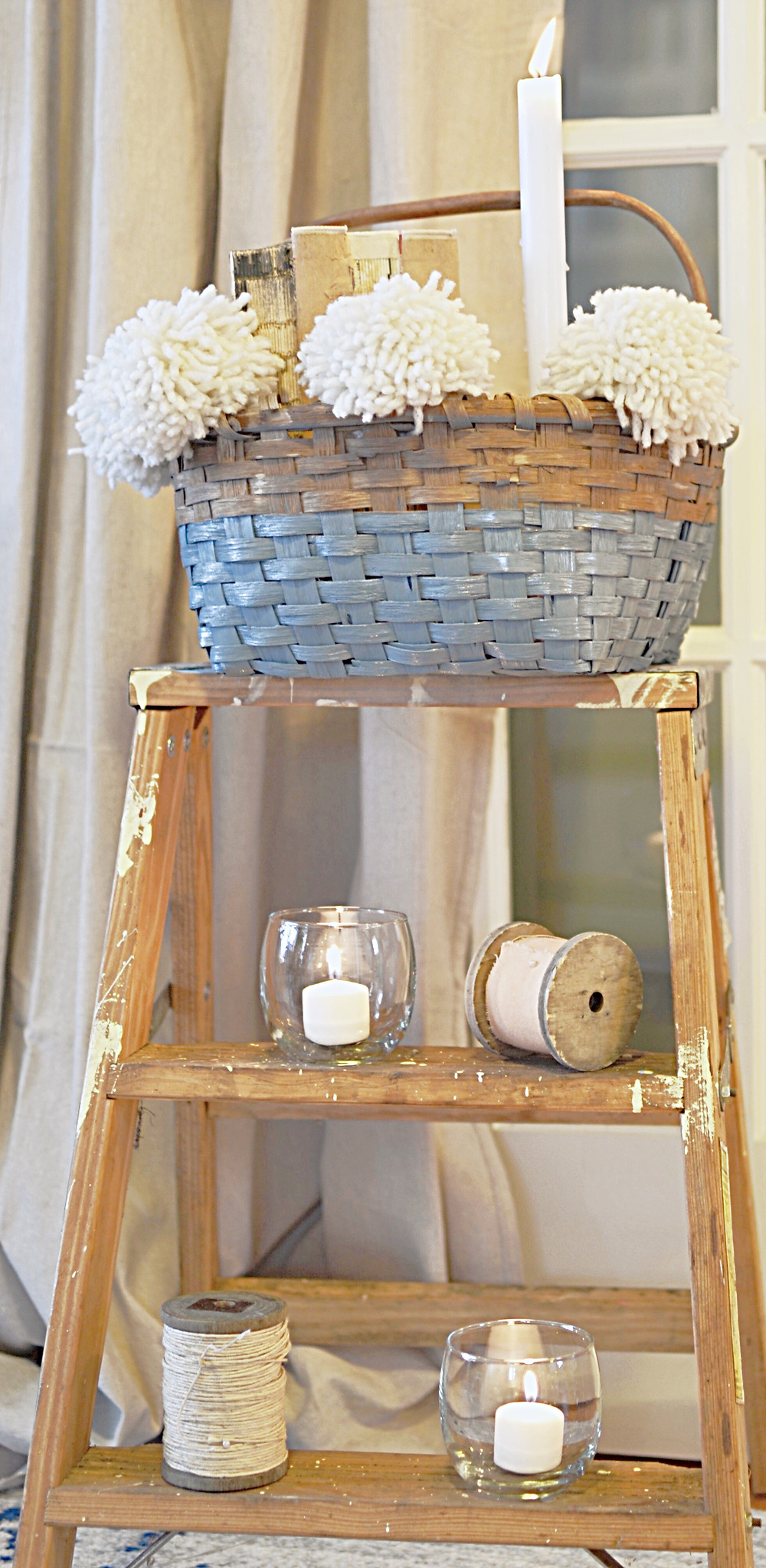 Decorated vintage basket