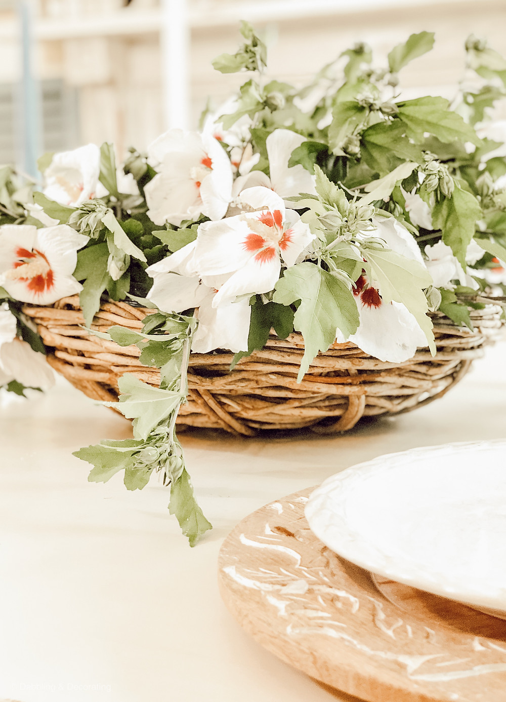 Simple Weekend Rose of Sharon Centerpiece