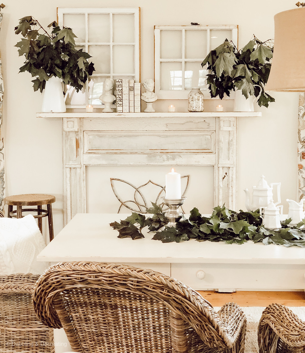 White Summer Farmhouse Mantel
