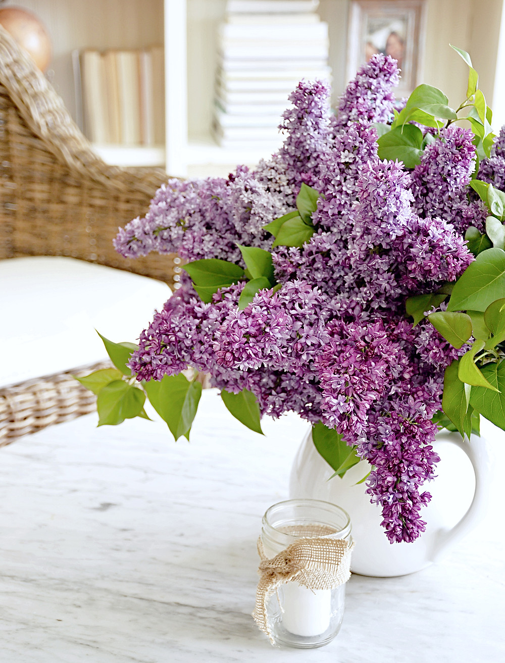 Lilacs and shelfie.
