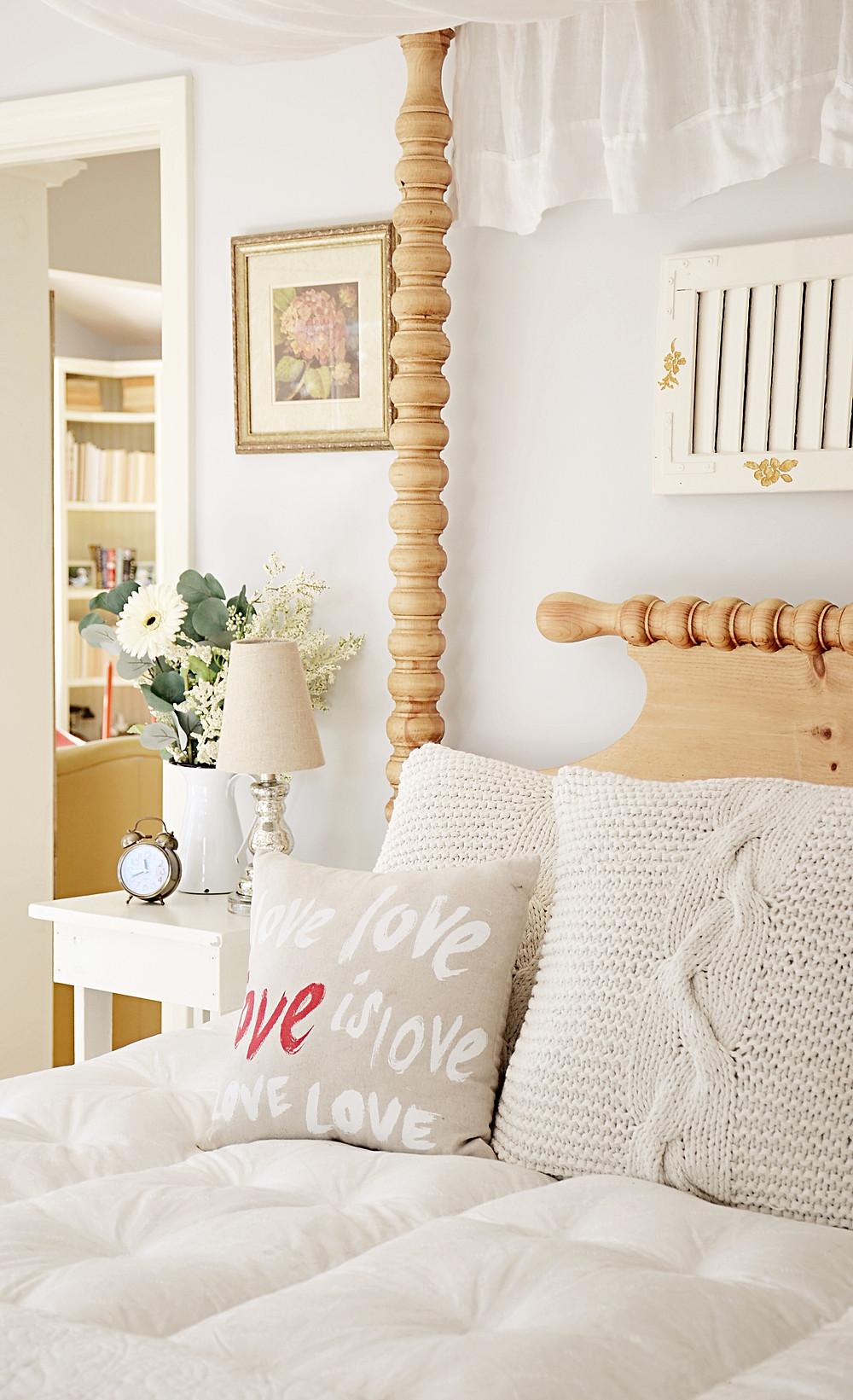 Cozy Bedroom Decor with Valentines Decor.