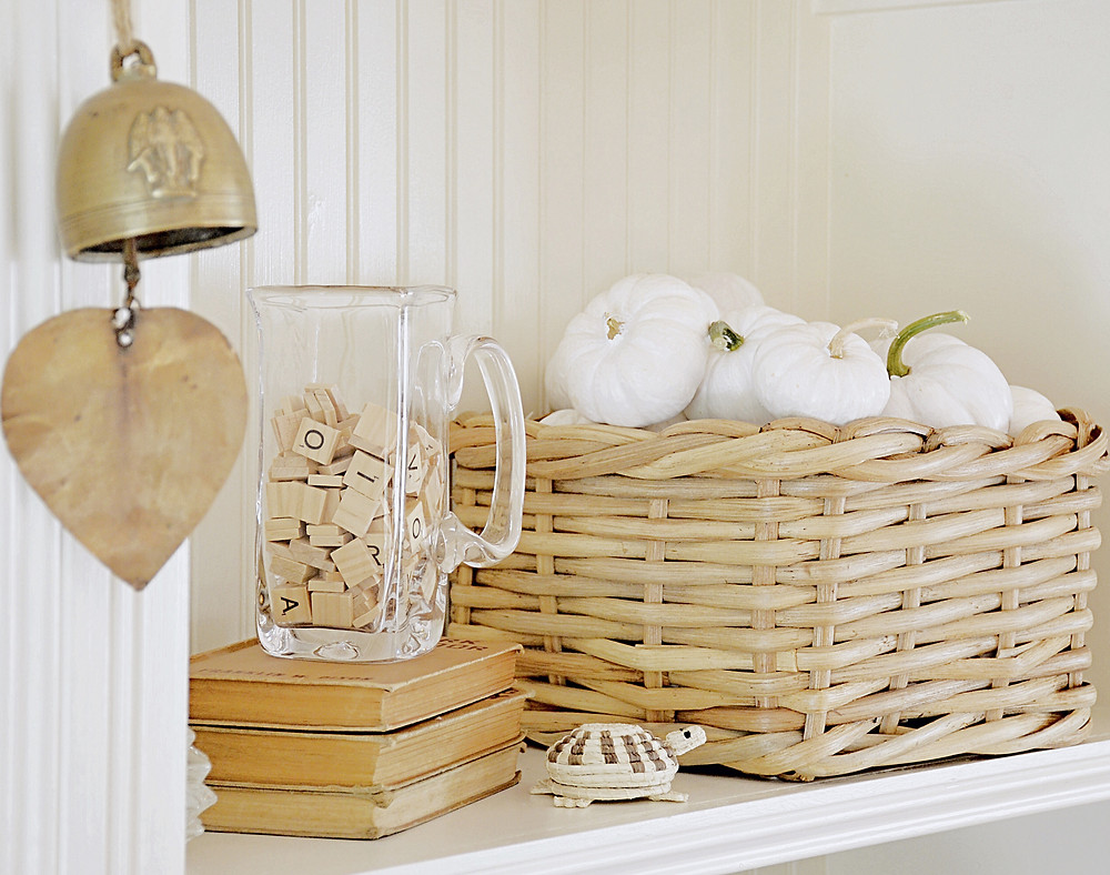 Vintage Fall Shelfie with white pumpkins.
