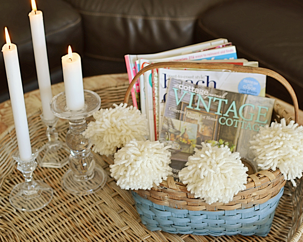Vintage basket with white  candles