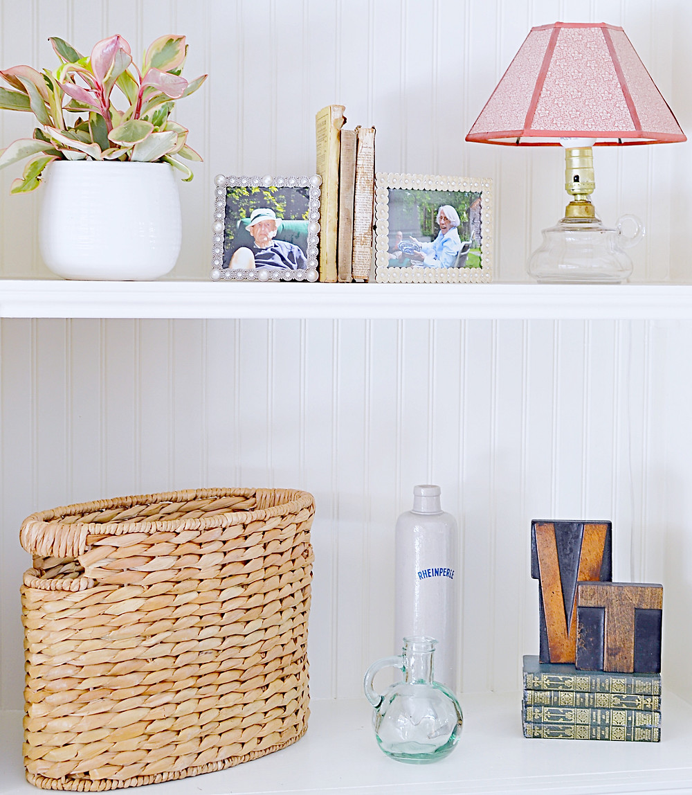 Shelfie with vintage pieces and plant.