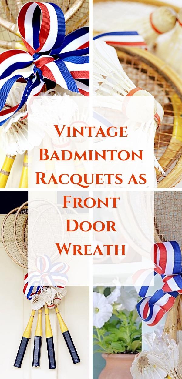 Vintage Badminton Racquets as Front Door Wreath