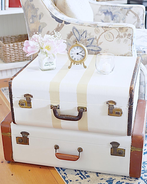 Vintage Suitcase DIY Repurposed with paint