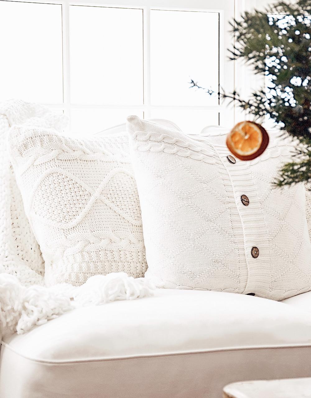 Simple Winter White Decor in the Sunroom.