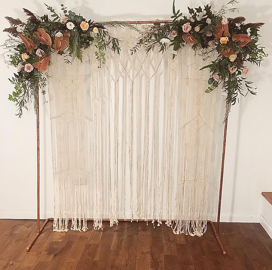 Copper frame arch with Macrame boho backdrop by Bureau Botany