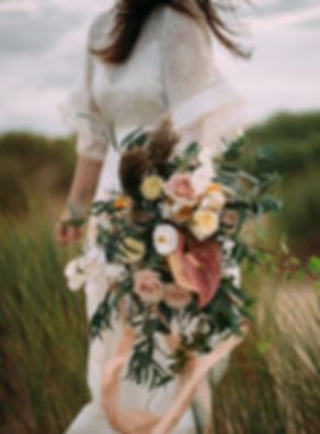 Wild boho bridal bouquet by Bureau Botany, Leeds-based wedding florist