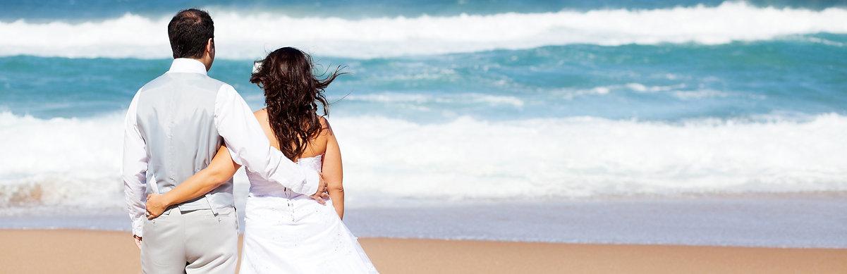 Couple beach wedding