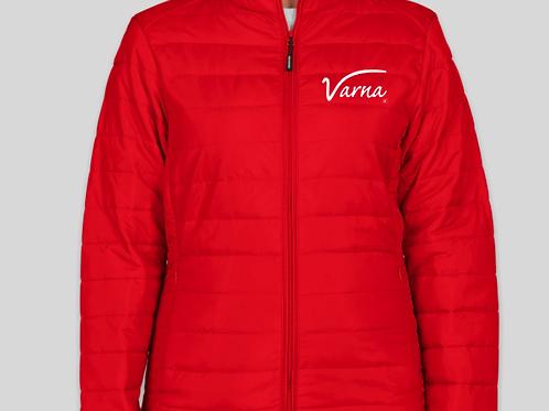 VARNA® WHITE ON RED WOMEN'S INSULATED PACKABLE PUFFER JACKET