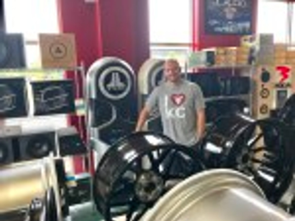 Chad Dearth pictured in the car audio section of the KC Trends showroom-Overland Park KS.
