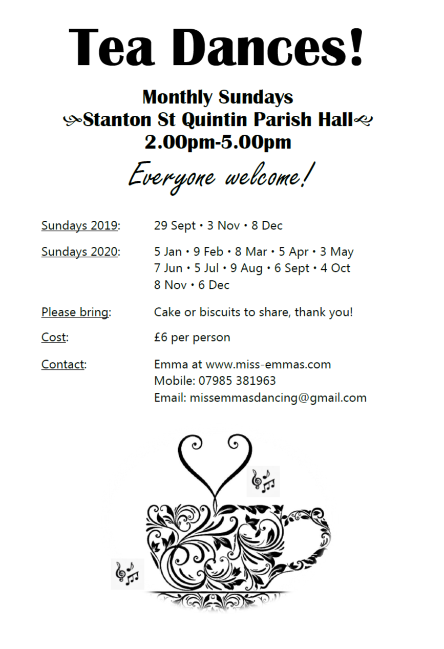 Tea Dances at Stanton St Quintin Parish