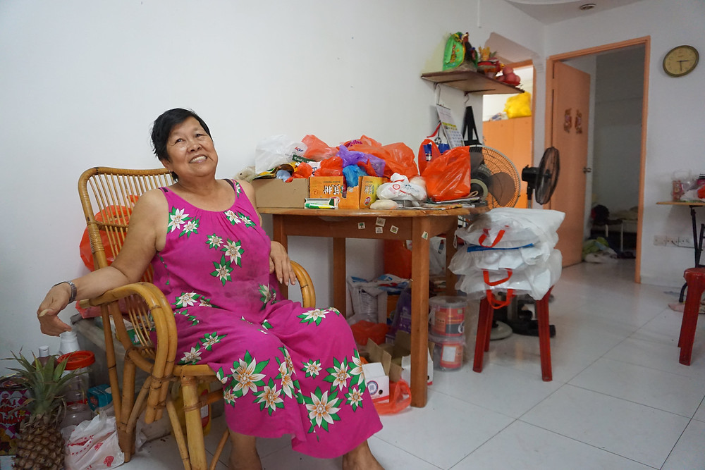 Mdm Kng in her favourite spot of her living room