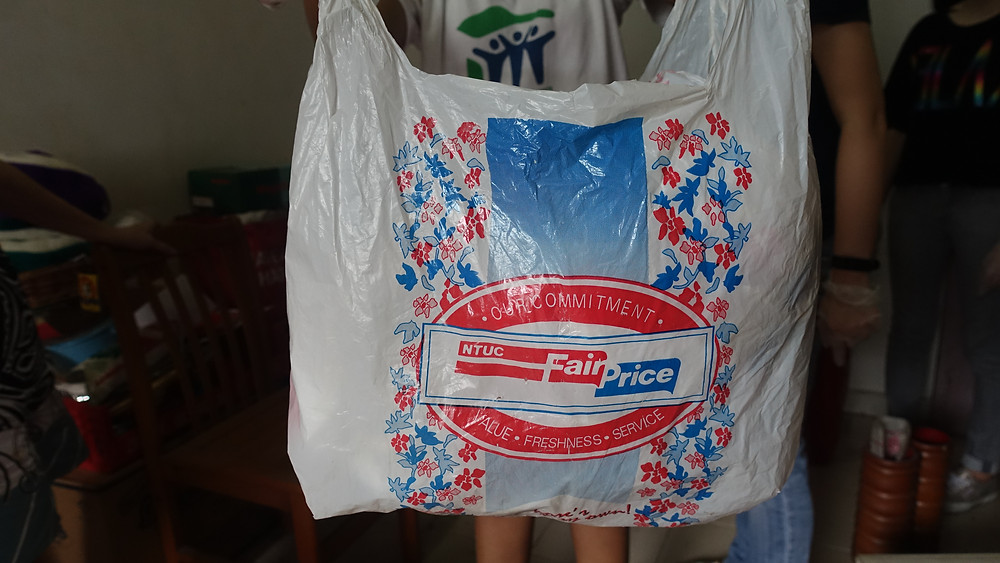 Vintage NTUC FairPrice bag withlogo from the 1970s