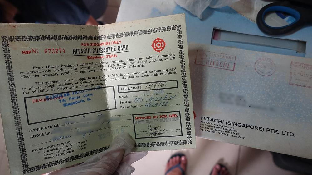Hitachi warranty card from 1979