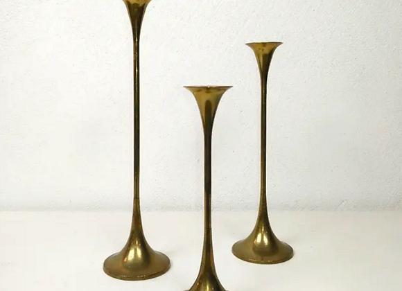 Trio de portavelas de bronce vintage
