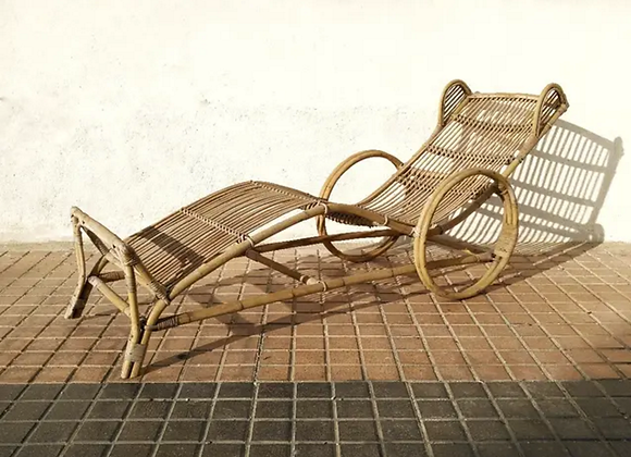 Tumbona de caña, años 60
