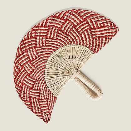 Colombian Handwoven Red Straw Palm Fan