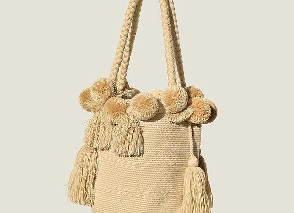 Colombian Wayuu Handwoven Luxury Cream Pom Pom Bag