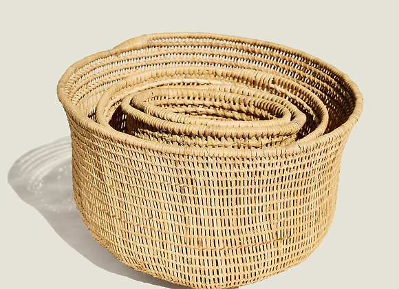 Colombian Handwoven Natural Palm Basket Bowl