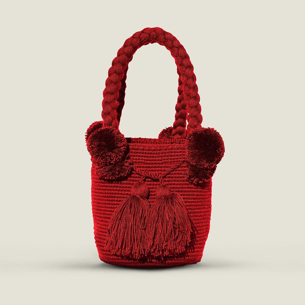 Wayuu Pom Pom Bag - red
