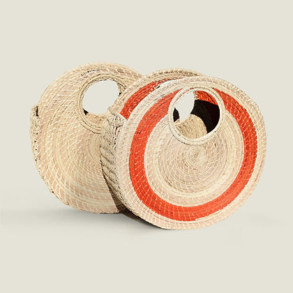 Colombian Handwoven Straw Palm Circle Beach Bag