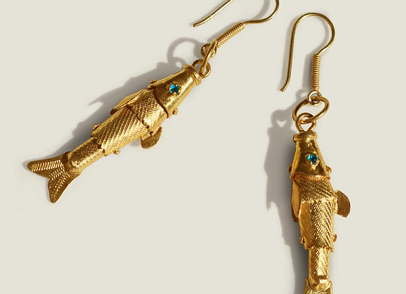 Colombian Handcrafted Gold Vermeil Fish Earrings
