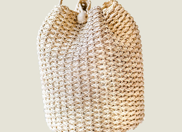Colombian Handwoven Straw Palm Bucket Bag