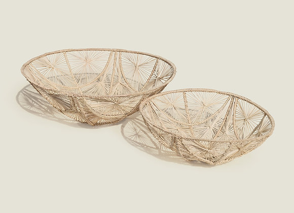 Colombian Handwoven Straw Palm Basket Bowl