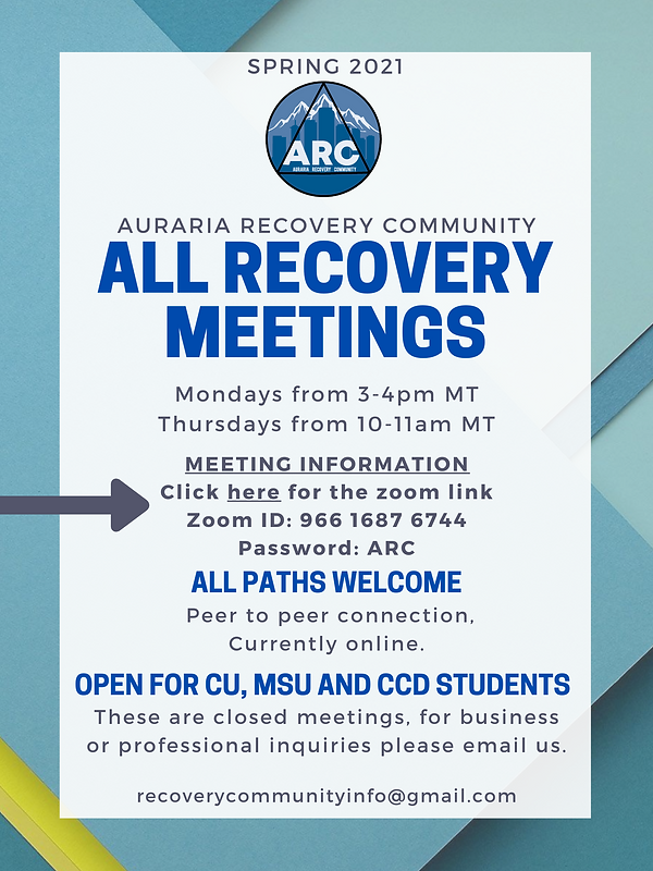 Updated 2021 All Recovery Meetings Flyer