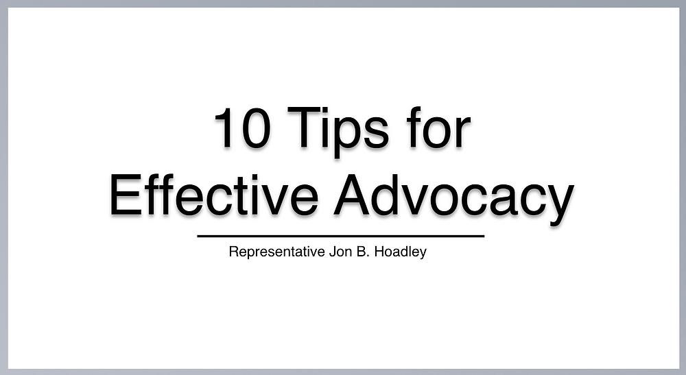 MI State Rep Jon Hoadley, PWA, 10 Tips for Effective Advocacy