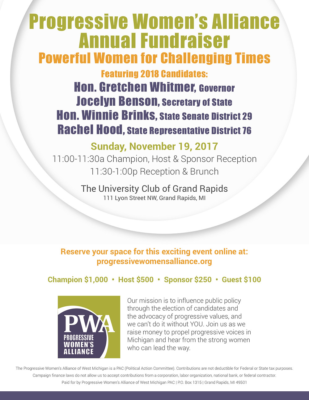 PWA, 11.19.17, Powerful Women for Challenging Times, Annual Fundraiser
