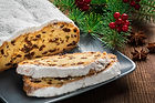 Christmas Stollen on a Plate with a rust
