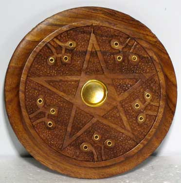 Wooden Pentagram incense burner