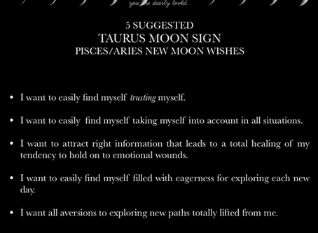 TAURUS MOON SIGN April New Moon READING 2018