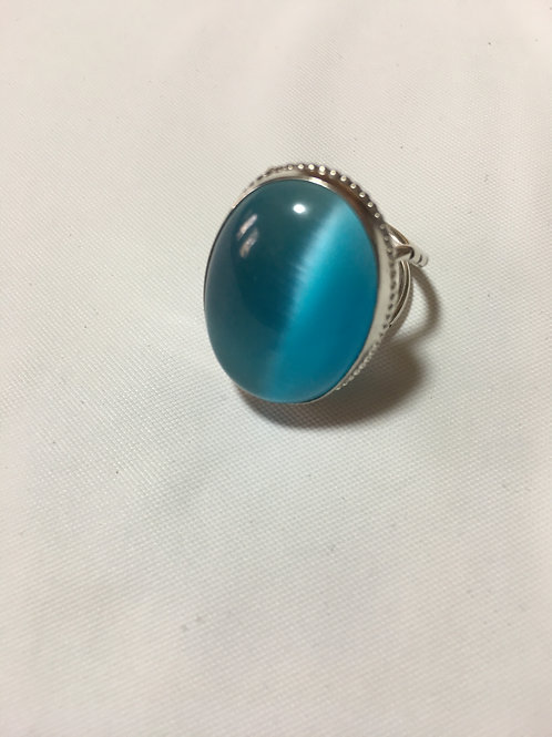 RS7 STERLING SILVER TURQUOISE CATS EYE RING (25 X 18) Stone
