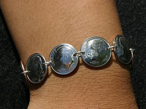 MS5 Dime Bracelet Soldered Sterling Silver Links Real US COINS