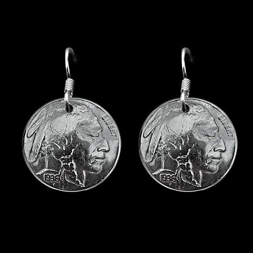MS8 Coin Jewelry  Sterling Silver Vintage Buffalo Nickle Earrings