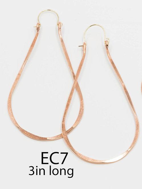 EC7 100% Copper Wire Tear Drop 3 inch Long Earrings