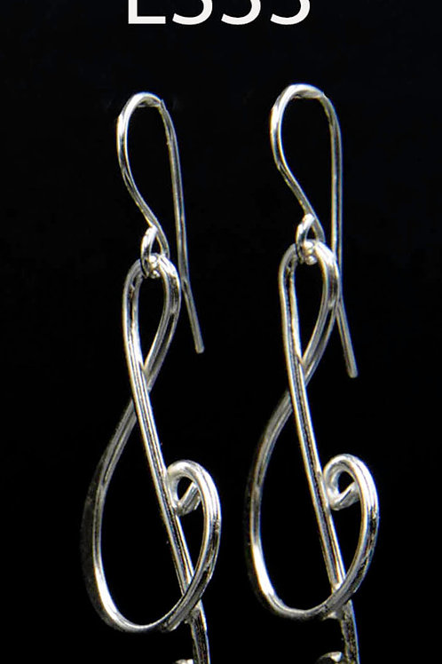 ES33 Sterling Silver 1.5 inch Long Music Note Earrings