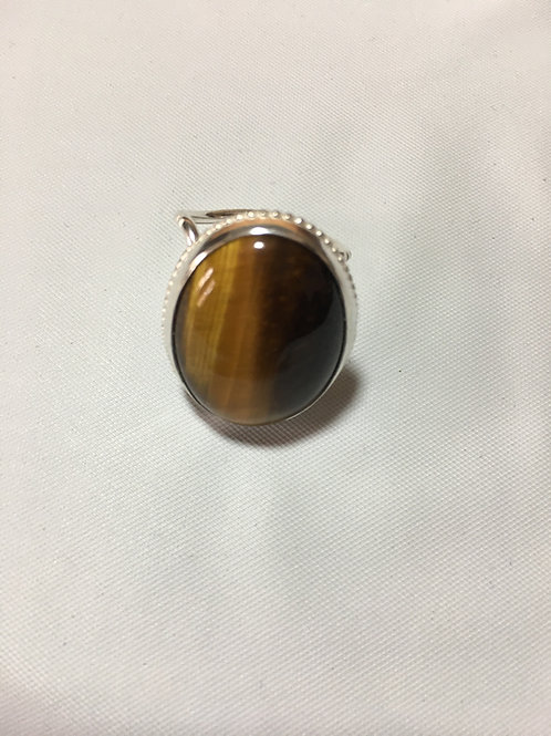 RS4 STERLING SILVER TIGERS EYE RINGS (25 X 18) Stone
