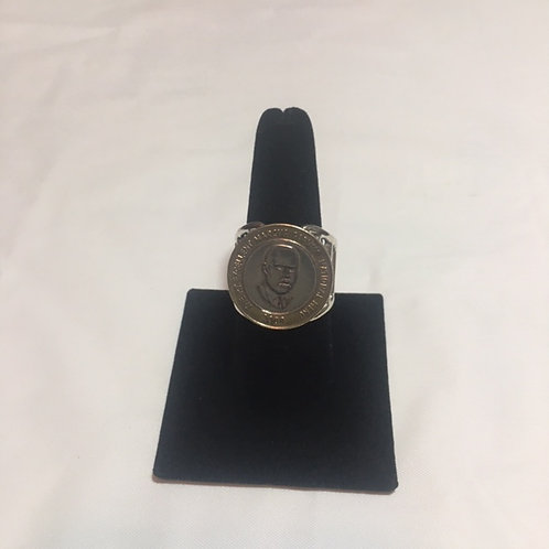 RS68 Marcus Garvey Coin Sterling Silver Ring
