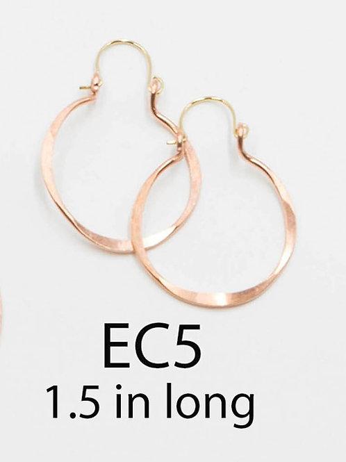 EC5 100% Copper Wire Barrel 1 inch Long Earrings