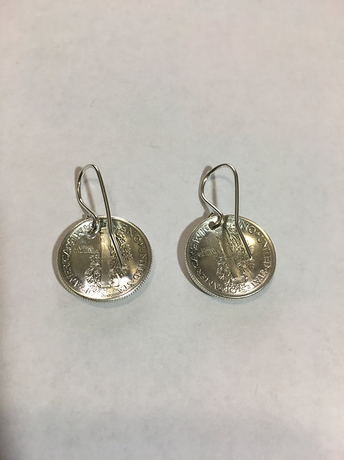 MS16 COIN STERLING SILVER LIBERTY DIME W/O BEADS Earrings