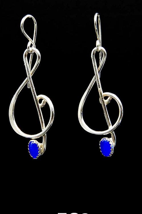 ES2 1.75inch Long Blue Cats Eye SS Music Note Earrings