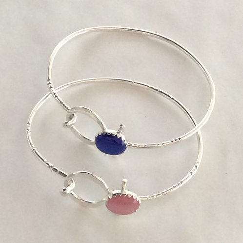 BS28 STERLING SILVER BLUE EYE CATS/ PINK CATS EYE BRACELET
